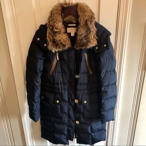 Michael Kors Navy Blue Down Coat w/Fur Trim